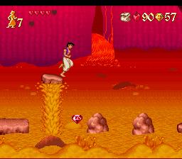 E para este outro é bastante difícil; tente planar com o lençol e rapidamente após pegar a joia, jogue o Aladdin para a pedra aí